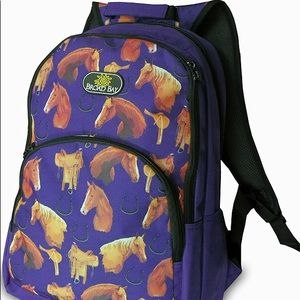 """Other - Horse Backpack 19"""" Blue with Horses"""